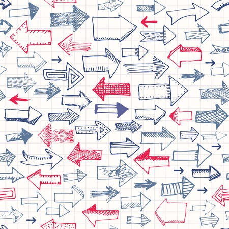 Seamless background pattern. Red vs. Blue,doodles arrows patternr Vector