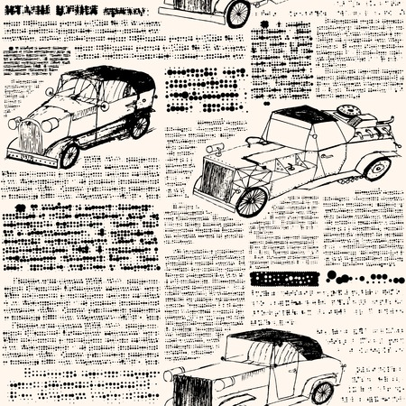 old newspaper: Seamless background pattern. Will tile endlessly. Imitation of retro newspaper with cars. Illustration
