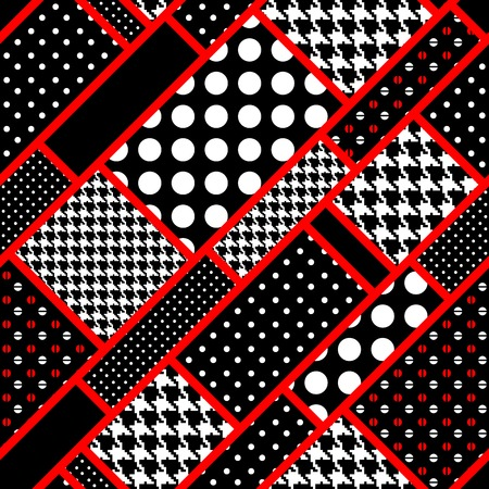 Seamless background pattern. Geometric pattern out the retro rectangles in polka dot Vector