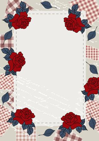 stile country: Pagina con le rose in stile country Vettoriali