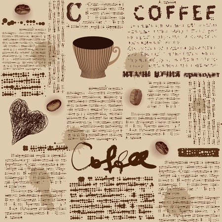 Seamless background pattern. Will tile endlessly. Coffee background with fake of newspaper Illustration