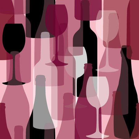 Seamless background pattern. Pattern of bottles for menu