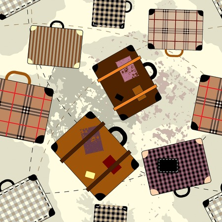 Seamless background pattern. Travel background with suitcases. Vector