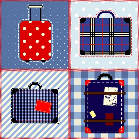 Seamless background pattern. Will tile endlessly. Patchwork quilt with suitcases. Vector