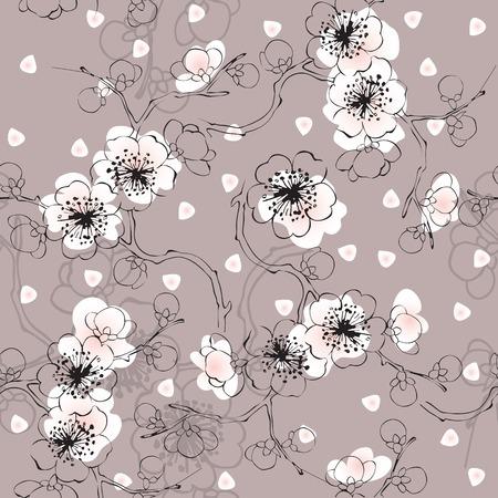 springtime: Seamless springtime background. Blossom cherry with petals Illustration