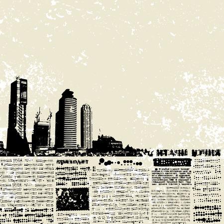 Plaats voor tekst, imitatie van de krant. Grunge stad. Stock Illustratie