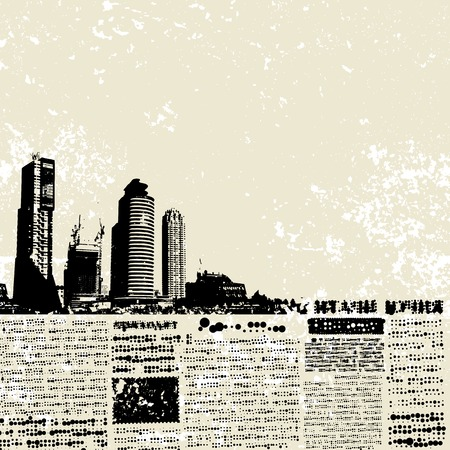 Place for text, imitation of newspaper. Grunge city.