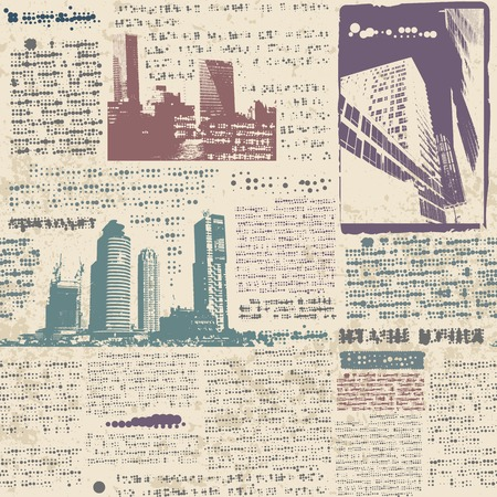 Seamless background pattern. Newspaper with grunge city Vector