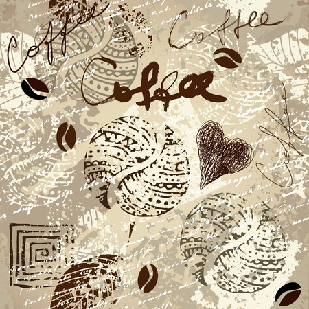 Seamless pattern. Coffee grunge pattern for menu Illustration