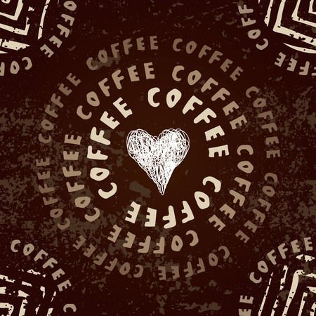 Seamless background pattern. Coffee pattern with the heart