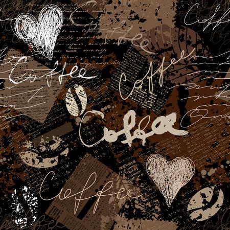 Naadloos patroon als achtergrond. Grunge koffie patroon voor het menu.