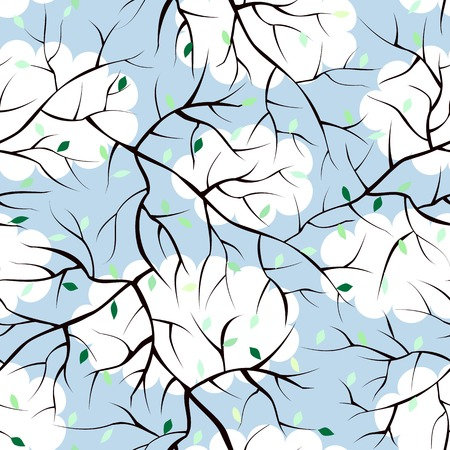 endlessly: Seamless background pattern. Will tile endlessly. Spring background of sprigs.