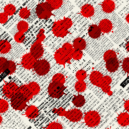 Seamless background pattern. Imitation of newspapers, stained with blood Vector