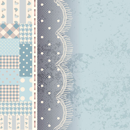 fringe: Bordered Background. Patchwork with lace fringe and grunge elemets.