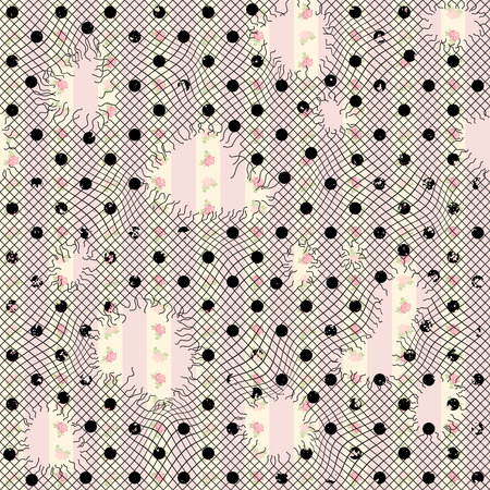 holey: Seamless background pattern. Holey lace on sweet pink background Illustration