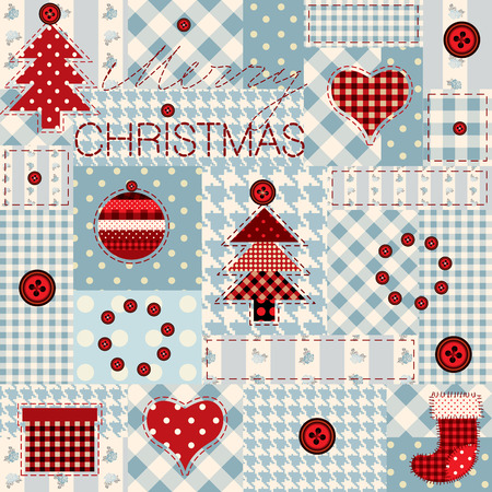 Seamless background pattern. Christmas background in patchwork style. Vector