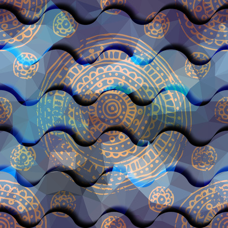 waves pattern: Seamless background pattern. Abstract waves pattern with grunge ornament