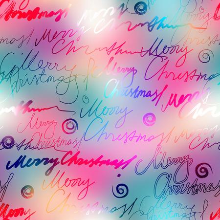 inscriptions: Seamless background pattern. Original inscriptions Merry Christmas on blur background.