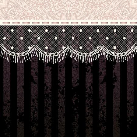 fringe: Bordered Background. Polka dot fringe lace on black background. Illustration