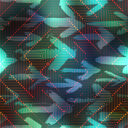 Seamless background pattern. Computer matrix pattern on blurred background with arrows. Illustration