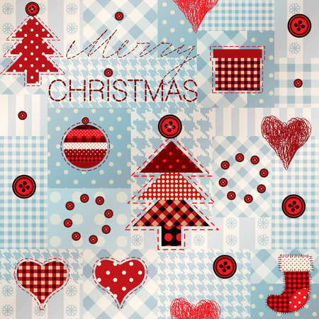 Seamless background pattern. Pattern in patchwork style Merry Christmas.