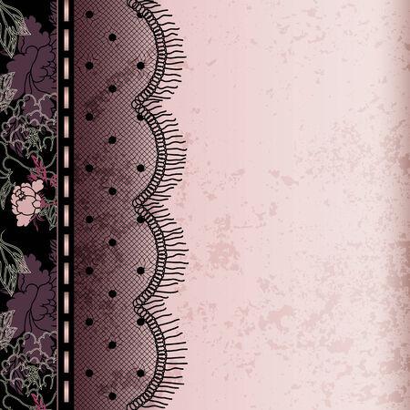 Fondo de color rosa Limita con flecos de encaje y el efecto del grunge.