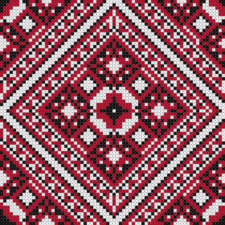 slavic: Seamless background pattern. Traditional Slavic black and red stitch.
