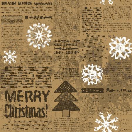 Seamless background pattern. Imitation of newspaper Merry Christmas.