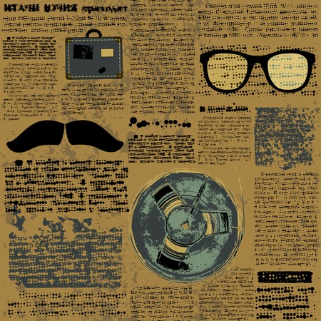 Seamless background pattern. Newpaper with hipster elements