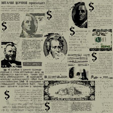 Seamless background pattern. Money background with imitation of newspaper Ilustração