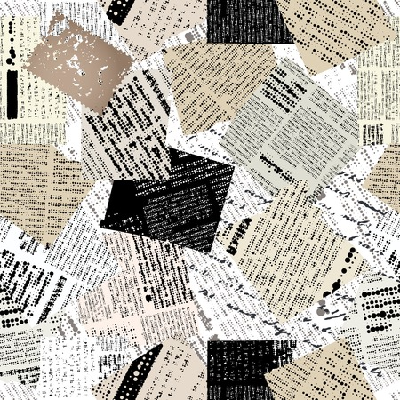 Seamless background pattern. Will tile endlessly. Collage of patches newspaper.