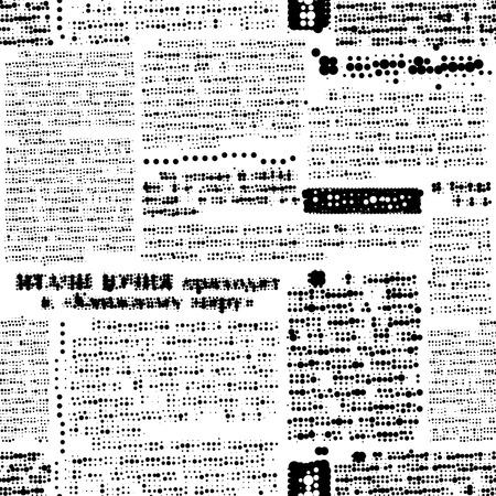Seamless background pattern. Imitation of newspaper, rasterized text, unreadable