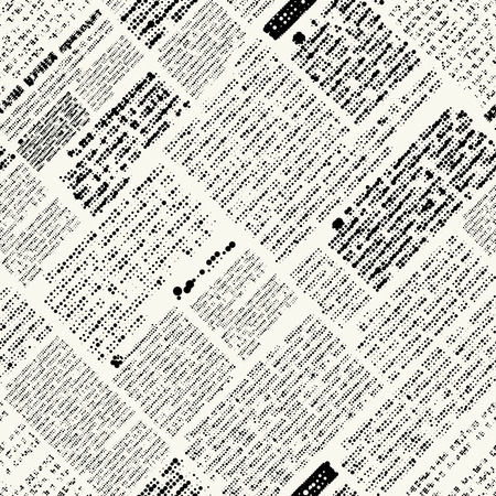 unreadable: Seamless background pattern. Imitation of nespaper with diagonal text.