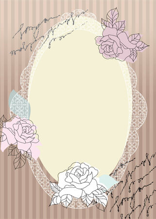 Decoupage border with oval blank palce for text