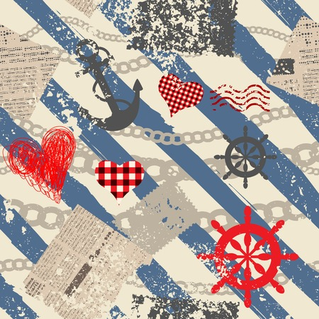 Seamless background pattern. Will tile endlessly. Grunge nautical pattern.