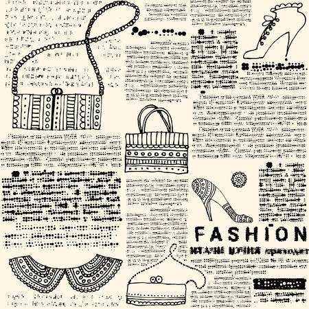 endlessly: Seamless background pattern. Will tile endlessly. Imitation newspapers of fashion