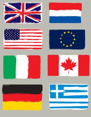 canada flag: Set of flags. Original brush.