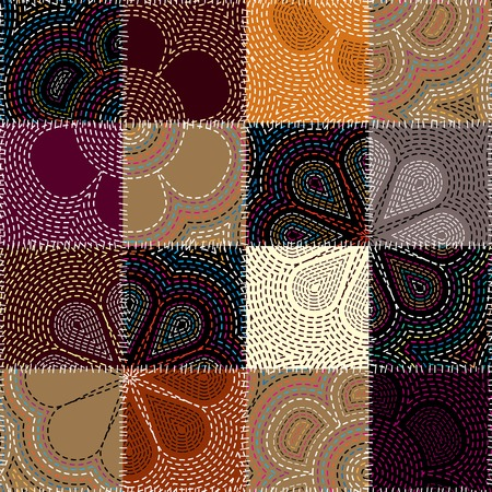 patchwork background: Seamless background pattern. Embroidery of flower on patchwork background.