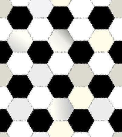 balck: Seamless background pattern. Patchwork of hexagons balck and white.