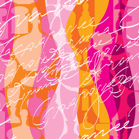 pulverizer: Seamless background pattern. Pink waves pattern with inscriptions.