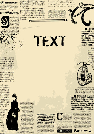 old newspaper: Bordered Background. Imitation of newspaper in retro style. Illustration