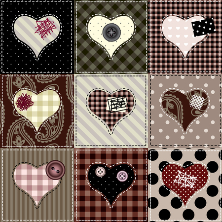 Seamless background pattern. Quilt with hearts. Valentines day background