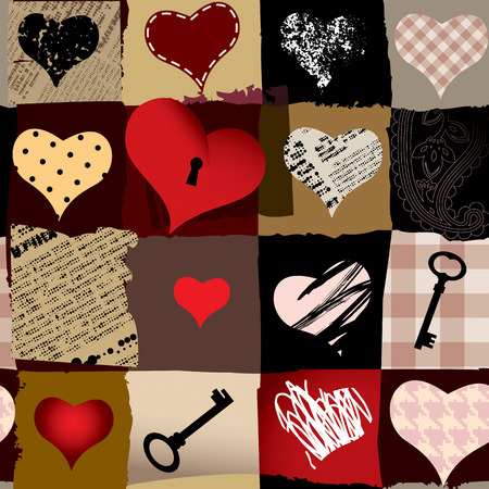 Seamless background pattern. Collage of hearts in different styles. Vector