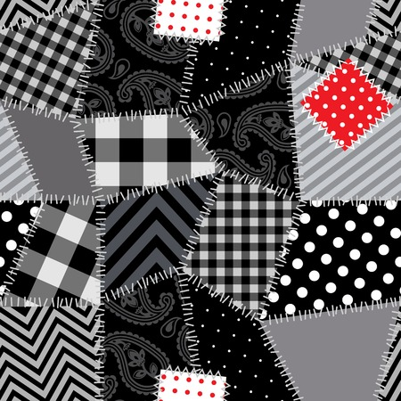 Patchwork seamless background pattern with one red patch
