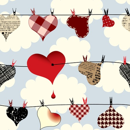 Seamless background pattern. Hearts on the sky background