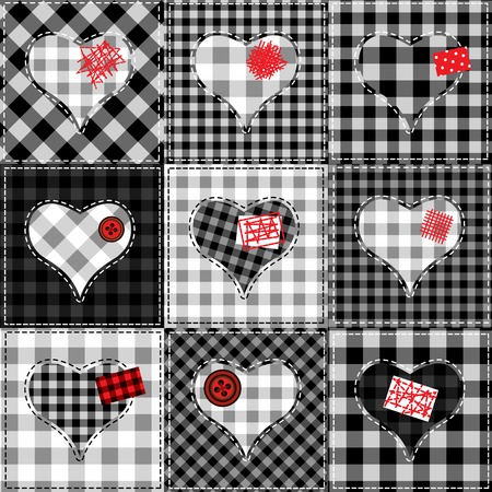 Seamless background pattern. Checkered quilt with hearts. Valentines day background Ilustração