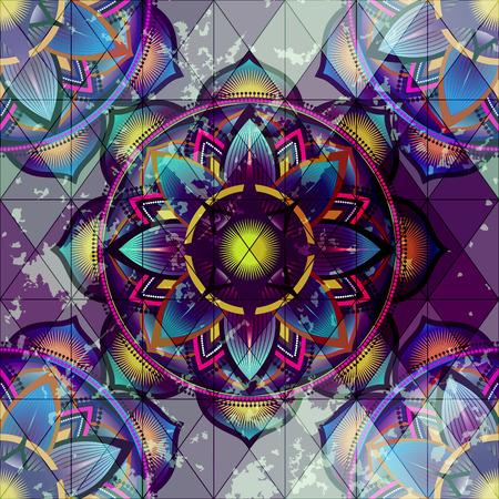 Seamless background pattern. Grunge ornament of mandala circles.