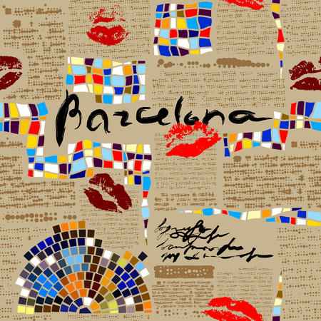 Seamless background pattern.  Imitation of newspaper Barcelona with mosaics. Vector