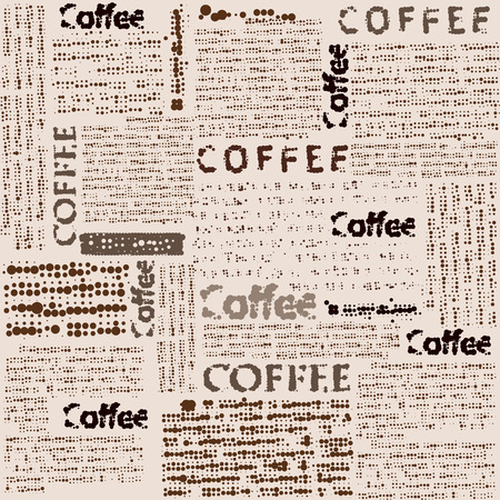 stilish: Seamless background pattern. Imitation of newspaper with the inscription coffee.