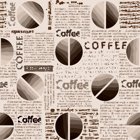 continuity: Seamless background pattern. Coffee pattern in newspaper style.